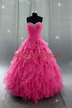 Hot Pink Prom Dresses | ... Dresses > Strapless Hot pink Puffy 2013 Pretty Quinceanera Dress 0626