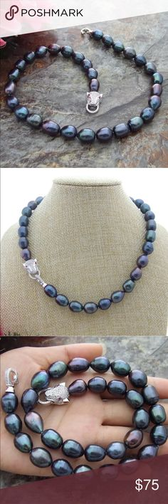 """17"""" 10x12mm Fresh Water Pearls Necklace Very Beautiful Natural Dark Gray Fresh Water Pearls Necklace 17"""" long. Best quality. NWOT. Price Firm 🍀.   Come on people REAL NATURAL PEARLS for $40 💁🏻 Jewelry Necklaces"""
