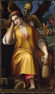 Allegory of Avarice, Jacopo Ligozzi (1547-1627); the woman is probably Sapphira (Acts 5:1-11), a personification of Avarice in Dante's Purgatory; a money bag and jewels symbolise greed; a winged skeleton (death/the devil) threatens her from behind. (Metropolitan Museum of Art)