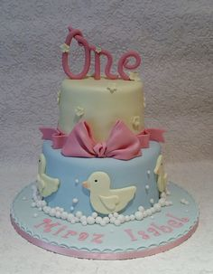 Rubber Duck inspired birthday cake by Baking Angel
