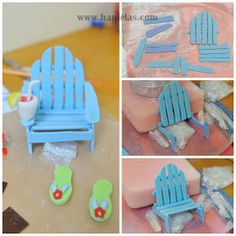 Haniela's: Beach Cake with Gumpaste Adirondack Chair- ooh can I do this in clay for emily's fairy garden? Fondant Toppers, Fondant Cakes, Cupcake Cakes, Fondant Bow, Cake Topper Tutorial, Fondant Tutorial, Fondant Figures, Cake Decorating Techniques, Cake Decorating Tutorials