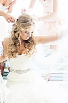 wedding hair half up curled long hairstyle