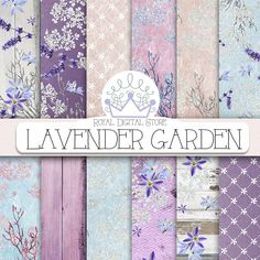 "Flower digital paper: ""LAVENDER GARDEN"" with purple flowers, lavender digital paper, purple scrapbook paper, purple background, digital lace #floral #planner #shabbychic #texture #wedding"