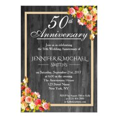 #Elegant Floral Wooden Wedding Anniversary Invite - #weddinginvitations #wedding #invitations #party #card #cards #invitation #elegant