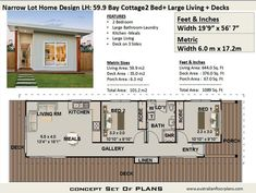 Bay Cottage 645 sq feet or 2 Bedroom 2 bed image 4 House Plans For Sale, Narrow House Plans, Small House Floor Plans, Flat House Design, Cabin Design, Design Design, Interior Design, Shipping Container Home Designs, Container House Design