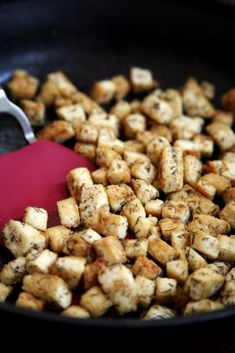 How to Cook Tofu | POPSUGAR Fitness  1 block tofu  1 T olive oil  1 t garlic powder  1/2 t salt  1/4 t dill  Saute over medium low heat for about 10-15 minutes.