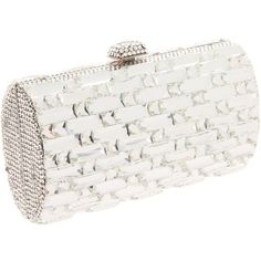 Prezzo 8291Rf Clutch ❤ liked on Polyvore featuring bags, handbags, clutches, prezzo, sparkly handbags, white purse, clasp purse and rhinestone studded purse