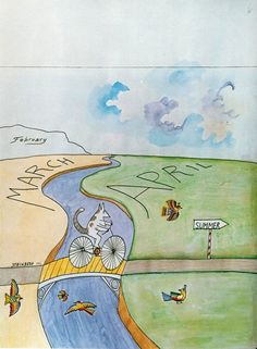 """""""March to April"""" by Saul Steinberg, 1966 #art #illustration"""