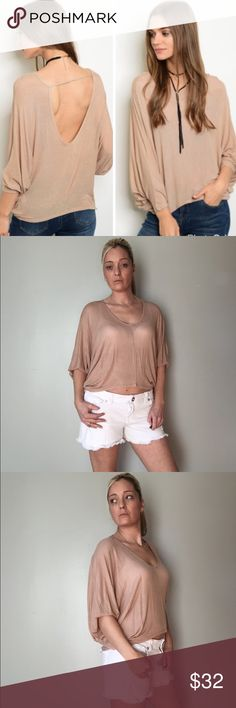 """Sexy Open Back Top Lightweight Tan Top  This top is so cute Very roomy and comfortable  Open back. Can be dressed up or down Length on all sizes is 22"""" I'm wearing the small  💥 Small : 3 to 5 💥 Medium: 7 to 9 💥 Large: 10 to 13 Bewitched Boutique Tops Tees - Short Sleeve"""