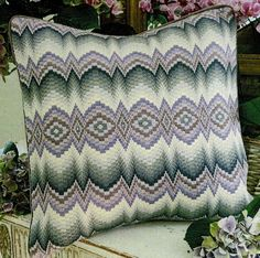 A traditional design in purples and greys. Tapestry Kits, Bargello, Traditional Interior, Traditional Design, Zig Zag Pattern, Needlepoint Kits, 100 Pure, Needlework, Couture