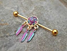Gold Industrial Barbell Dream Catcher Fire Opal Center 14ga Body Jewelry Ear Jewelry Double Piercing Feathers - BodyDazzle - 1