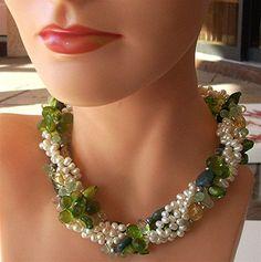 FREE SHIPPING  5 Strand Gemstone and Pearl  by RickyArtGallery, $125.00