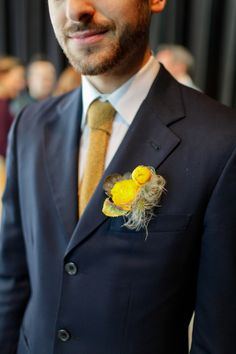 Yellow Boutonniere - Photo Source • Dallas Curow Photography