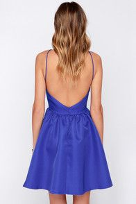 Time and time again, the Chic and Repeat Blue Backless Dress will be the one you turn to for guaranteed glamor! In a structured, woven poly, a high squared-off neckline takes shape; framed by two skinny straps that meet above a chic open back. The darted bodice offers a tantalizing fit, with a skater skirt flaring below for a bit of party-perfect volume. Hidden back zipper with clasp. Fully lined. 100% Polyester. Hand Wash Cold.