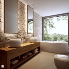 This #bathroom is absolutely beautiful! Look at that view!