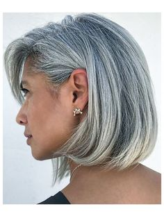 Image result for grey silver hair shoulder length side bang lob