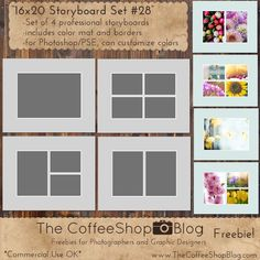 "The CoffeeShop Blog: CoffeeShop ""16x20 Storyboard Set #28"" With Color Mat and Borders!"
