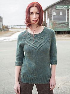 Halyard by Norah Gaughan  Berroco: Norah Gaughan Vol 15  The Halyard pullover, knit from the bottom up, features a flattering cabled yoke and ingenious hybrid raglan shaping for a perfect fit.