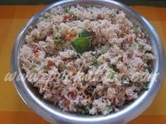 An easy rice dish with mint leaves (Pudhina)
