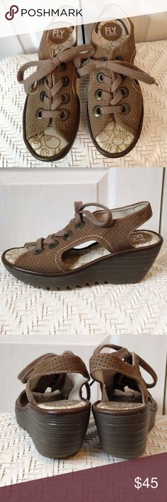 "8 38 Fly London Ylva Lace Up Sandals Wedges New without tags, these soft leather mushroom Lace up Wedges/slingbacks have dark brass colored grommets. Rubber soles have 1"" platform,  heels are 2 1/2"" high. Super cute and comfy! Fly London Shoes Platforms"