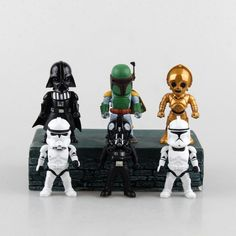 38.39$  Watch now  - Star Wars 6PCS/SETS Black Knight Darth Vader White Warrior Storm trooper Led Light 10 CM  PVC Action Figures Doll Toys