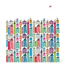 Houses & Birds, print by Judy Kaufmann