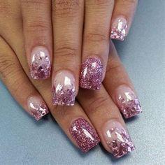 light pink glitter acrylic nails - Google Search