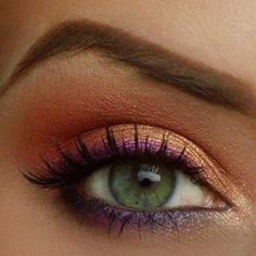 Copper eyeshadow with purple eyeliner {this look would be great with a emerald or plum eyeliner instead of the purple for Fall}: