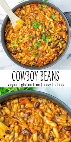 Vegetarian Recipes Discover Cowboy Beans [vegan gf] - Contentedness Cooking These Cowboy Beans are so easy and delicious. No one would ever taste they are vegan and you will find a instant pot and slow cooker version for more excitement as well. Vegan Bean Recipes, Vegan Foods, Healthy Recipes, Vegetarian Recipes Instant Pot, Vegetarian Slow Cooker Meals, Slow Cooker Beans, Vegetarian Recipes Dinner, Healthy Soup, Frijoles Rancheros