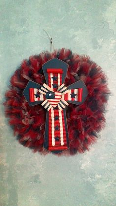 Memorial Day Tulle Wreath with Cross by TutuChicWreaths on Etsy