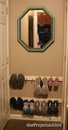 Wall Shoe Organizer and an Antique Mirror for the Entry | the Project Addictthe Project Addict