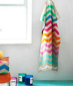 LOVE these multi colored chevron bath towels. | H GB