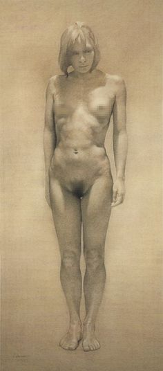 """Carola"" (1992) by contemporary figurative artist Aldo Bahamonde (Chilean b. 1963), conté pastel on paper, standing nude female anatomy drawing. Great torso definition. #NSFW"