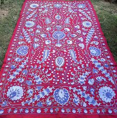Village Drawing, Contemporary Embroidery, Embroidery Motifs, Fabric Strips, Furniture Covers, Embroidered Silk, Table Covers, Bed Spreads, Traditional Art