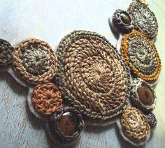 CUSTOM driftwood .bib necklace. handmade crochet jewelry by Even Howard, glass, grey, taupe, steel, sand