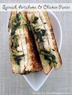 Healthy Spinach, Artichoke, & Chicken Panini Recipe!  Use fresh mozzarella for an amazing salty and seasoned meal!