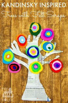 Kandinsky Inspired Tree made with Felt Scraps. This beautiful Kandinsky Inspired… Preschool Art, Craft Activities For Kids, Craft Projects For Kids, Easy Crafts For Kids, Art Projects, Jewish Crafts, Scissor Skills, Henri Matisse, Pablo Picasso Crafts For Seniors, Easy Crafts For Kids, Art For Kids, Toddler Art Projects, Toddler Crafts, Dot Painting, Painting For Kids, Kandinsky Art, Jewish Crafts