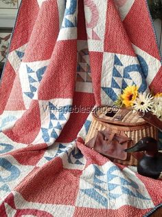 "Americana ANTIQUE c1880 Farmhouse BASKET QUILT Red White Blue 76x78"""