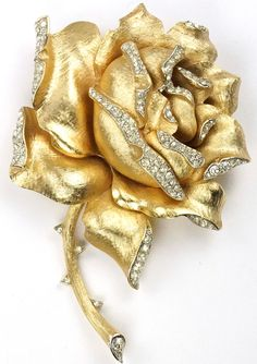 RosamariaGFrangini   MY Floral Jewellery   TJS   Trifari Gold and Pave Blooming Rose Pin