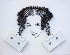 Amazing portraits from old tapes!  Erika Simmons dug all the old tapes from the basement of her home and decided to apply all the above artistic concerns ! Unraveling a tape carefully and letting her imagination free creates amazing portraits!!!