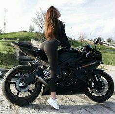 Black Yamaha R6 Motorcycle and biker girl , biker queen #yamaha #motorcycle #bike #sportbike #bikergirl #bikerqueens