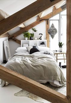 = bedroom nook and wood beams = The Design Chaser