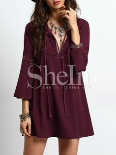 Shop Burgundy Bell Sleeve Lace Splicing Shift Dress online. SheIn offers Burgundy Bell Sleeve Lace Splicing Shift Dress & more to fit your fashionable needs.