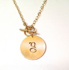 Katy Grey Large Initial Toggle Necklace