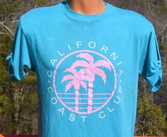 vintage 80s t-shirt CALIFORNIA coast club palm trees beach soft split-sleeve tee Medium teal by skippyhaha
