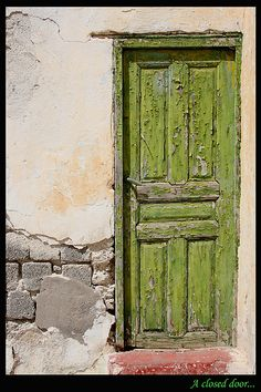 Door, green wooden door, weathered, old, aged, cracks, entrance, doorway, beauty, bricks, photo