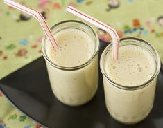 Banana Soymilk Smoothie    Makes 2 servings    Recipe Notes: If you want a thinner drink, omit the ice cubes.    handful of ice cubes  2 ripe bananas, peeled and broken into pieces  1 cup plain soymilk  1 1/2 tablespoons honey  1 tablespoon ground flaxseed (optional)    1. Put all the ingredients into a blender in the order listed. Blend until smooth