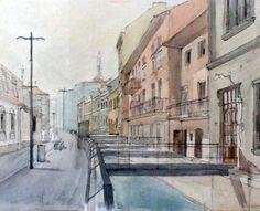 watercolor Cluj-Napoca, pretty city architecture