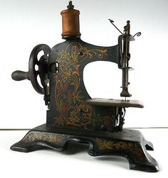 Antique Child's Toy Sewing Machine w/FW Muller Parrot Floral Design; Germany; Circa 1918