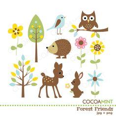 Gli amici della foresta Clip Art di cocoamint su Etsy